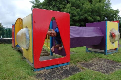 Enjoying the school's playground