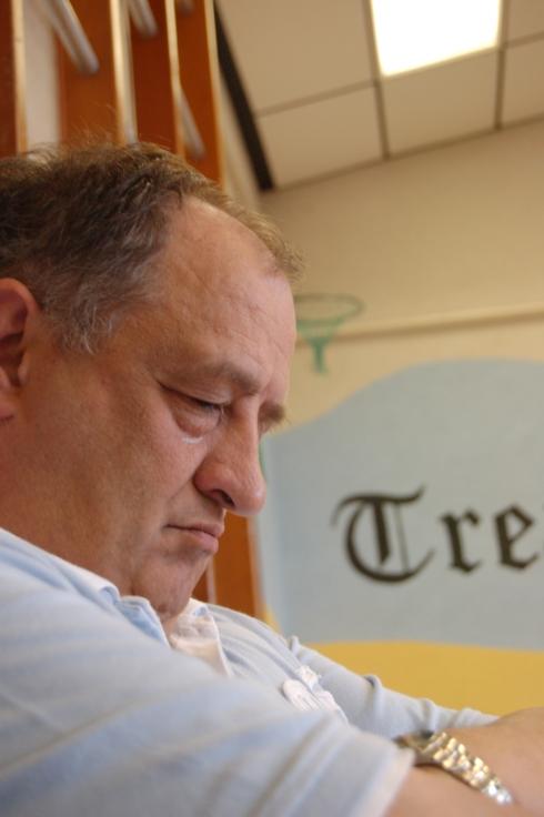 Dad deep in prayer during Mum's Memory Verse....
